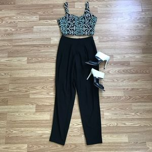 🎉LULU's Two-Piece Jumpsuit Set with Crop Top!